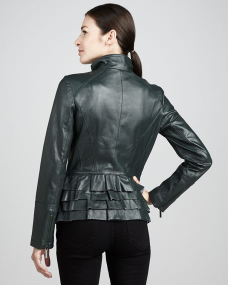 Tiered Leather Jacket