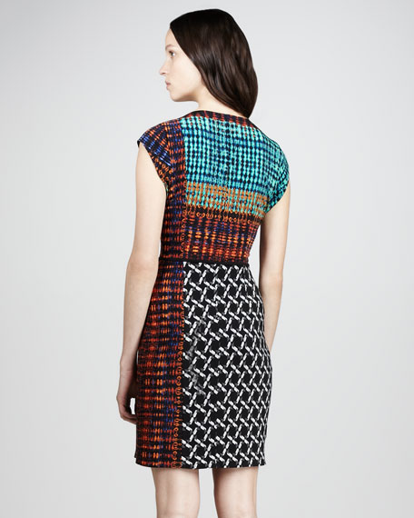 Mixed-Print Jersey Dress