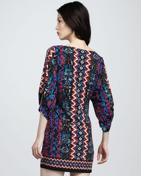 Border-Print Jersey Dress