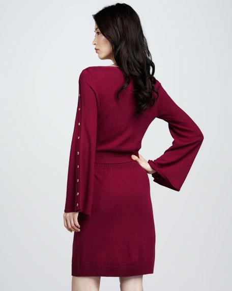 Snap-Sleeve Sweaterdress