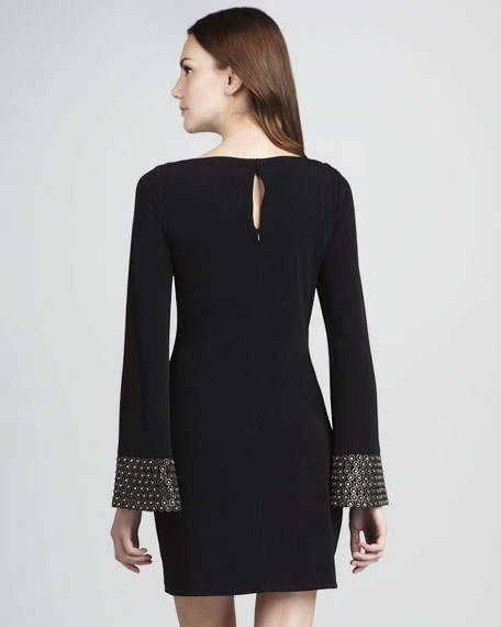 Beaded Long-Sleeve Minidress