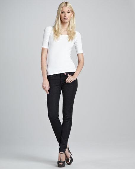 Serena Black Glitter Skinny Jeans