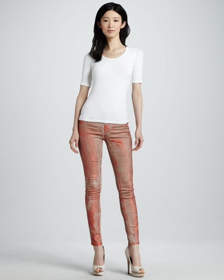 Halle Orange Metallic Legging Jeans