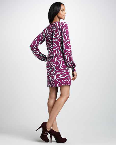 Dora Lily-Print Crepe Dress