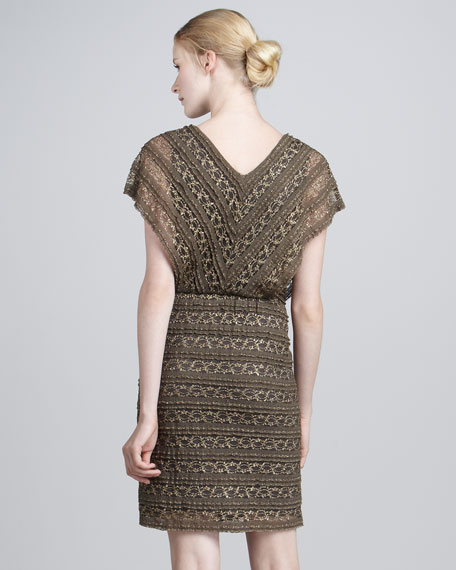Metallic Lace-Knit Dress