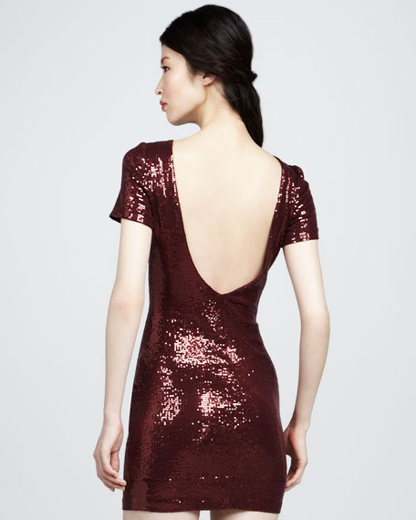 Sequined Scoop-Back Dress