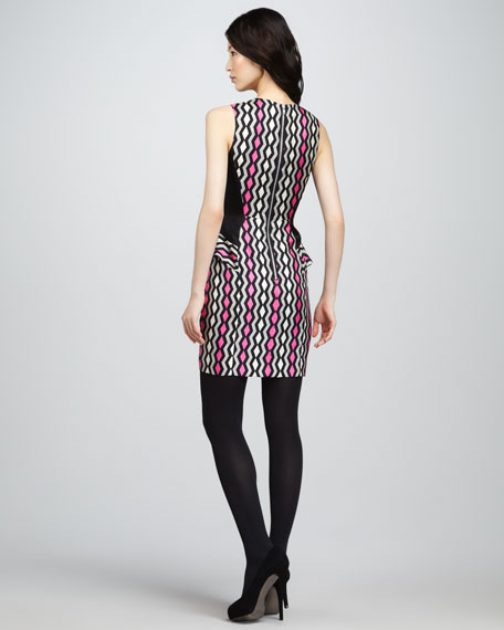 Viola Printed Side-Ruffle Dress
