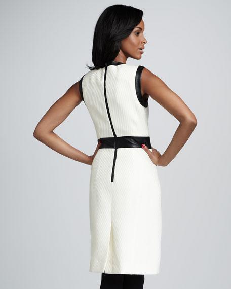Leather-Trim Knit Dress