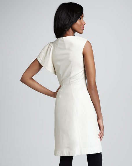 Fiona One-Sleeve Leather Cocktail Dress