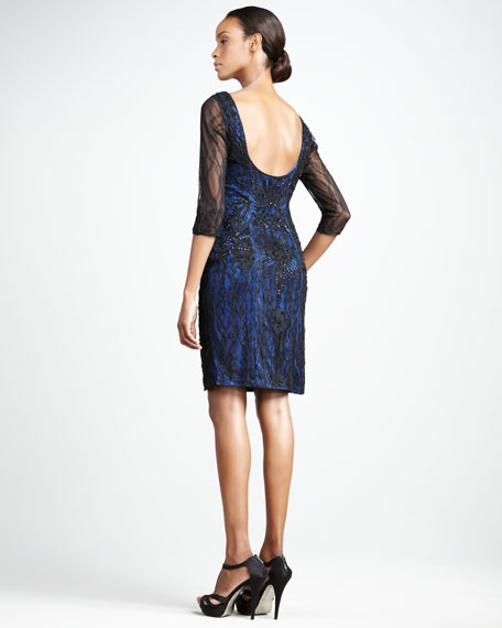 Open-Back Lace Cocktail Dress