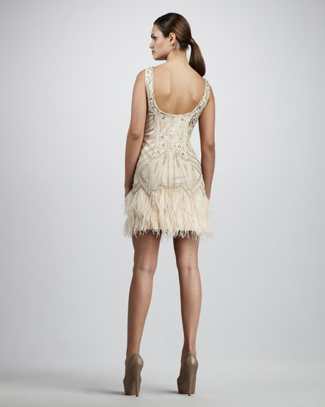 Embroidered Ostrich-Trim Dress