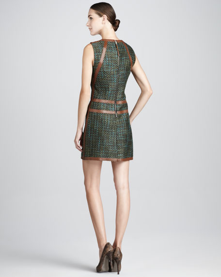 Tweed Leather-Trim Dress