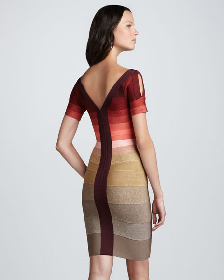 Ombre-Stripe Short-Sleeve Bandage Dress