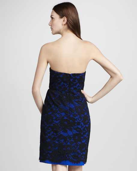 Lace-Overlay Strapless Dress
