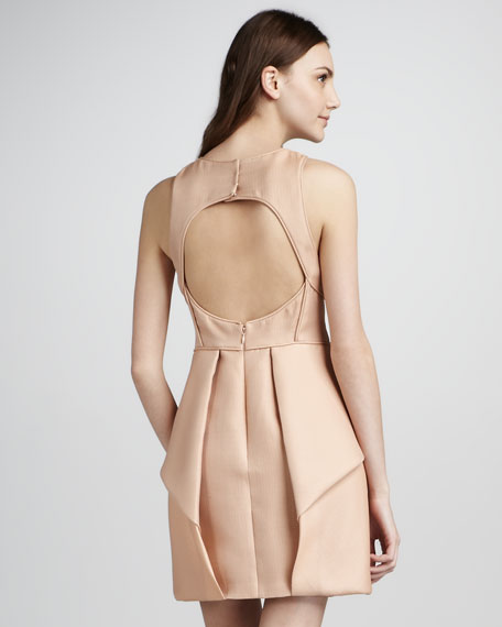 Simona Jacquard Cutout-Back Origami Dress