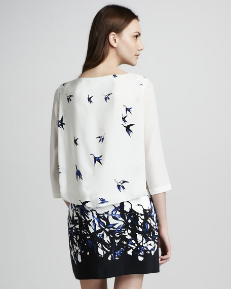 Bird-Print Silk Shift Dress