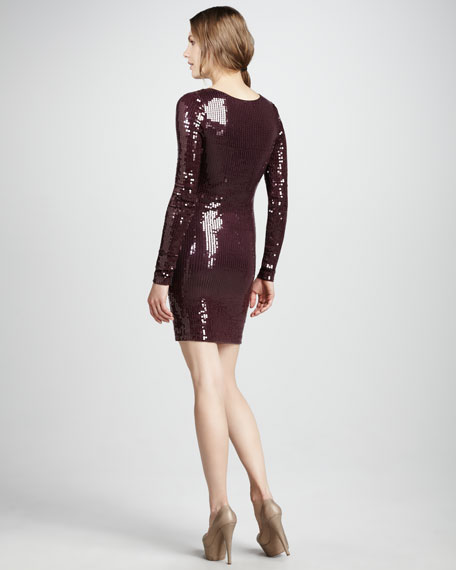 Long-Sleeve Sequined Dress
