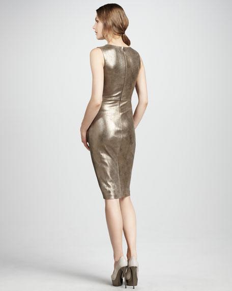 Metallic Leather Dress