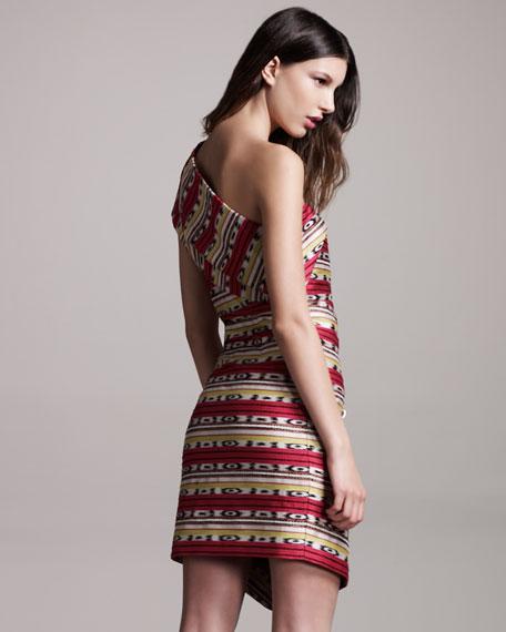 One-Shoulder Jacquard Dress