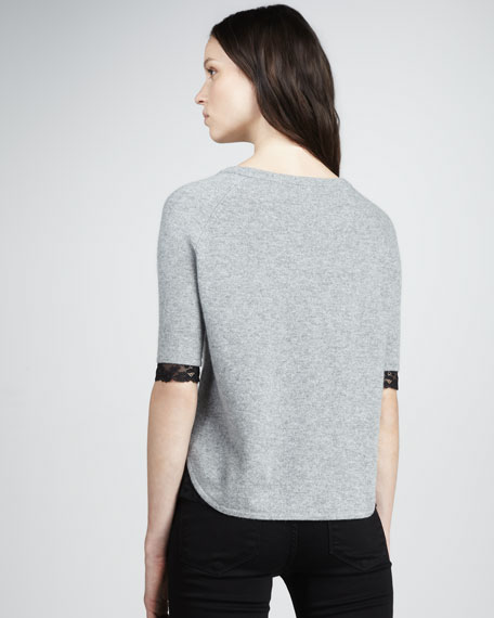 Lace-Detail Cashmere Sweatshirt
