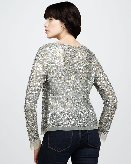 Sequined Mesh Jacket