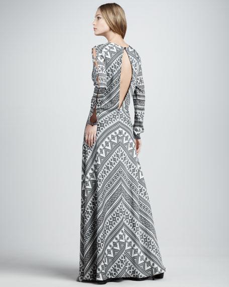 Printed Slit-Back Maxi Dress