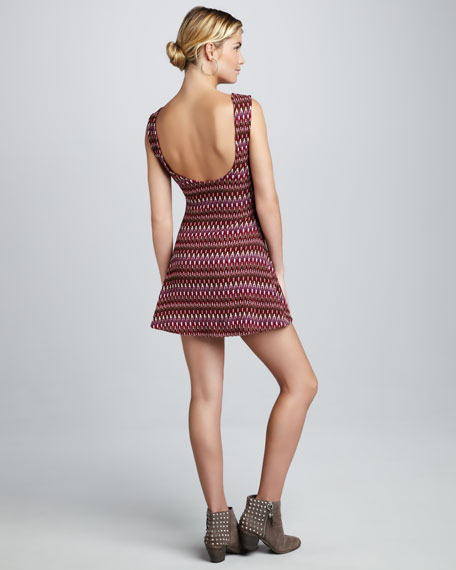 Printed Open-Back Minidress