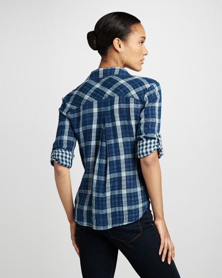 Check-Contrast Plaid Blouse