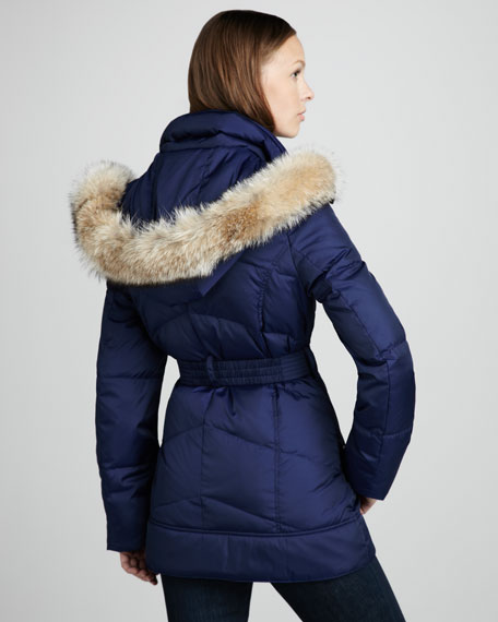 Matrix Belted Fur-Trim Coat, Navy