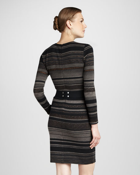 Striped Knit Long-Sleeve Dress
