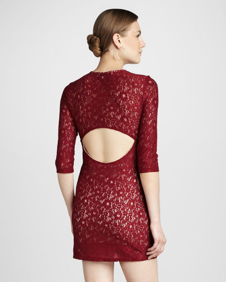 Sway Back-Cutout Lace Minidress