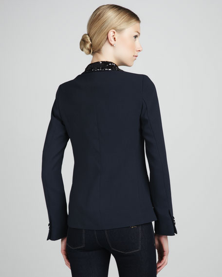 Sequin-Lapel Tuxedo Blazer