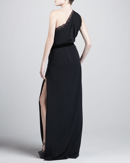 Mandy Lace-Trim One-Shoulder Gown