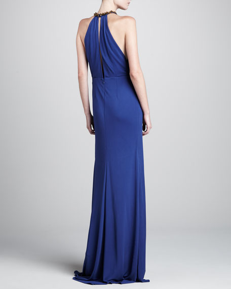 Jennifer Beaded-Neck Gown