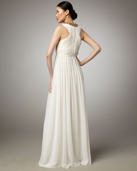 Alexandra Beaded-Neck Gown, Ivory
