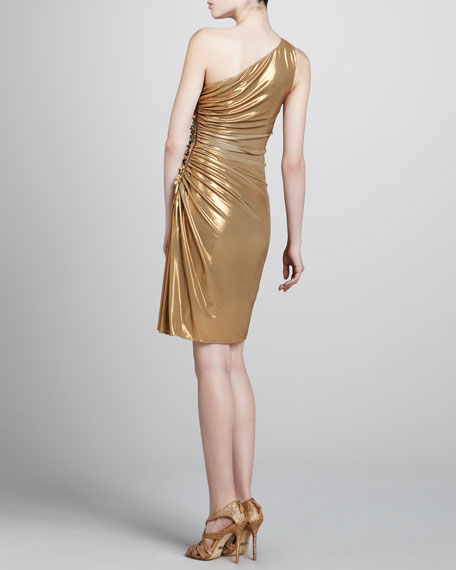 Natasha Metallic One-Shoulder Dress