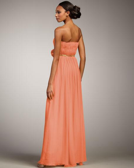 Adriana Strapless Chain-Belt Gown