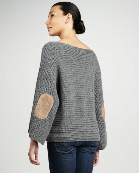 Ribbed Elbow-Patch Sweater