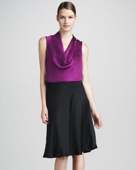 Satin Bias-Ruffle Skirt