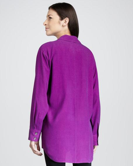 Long Big Silk Shirt, Petite