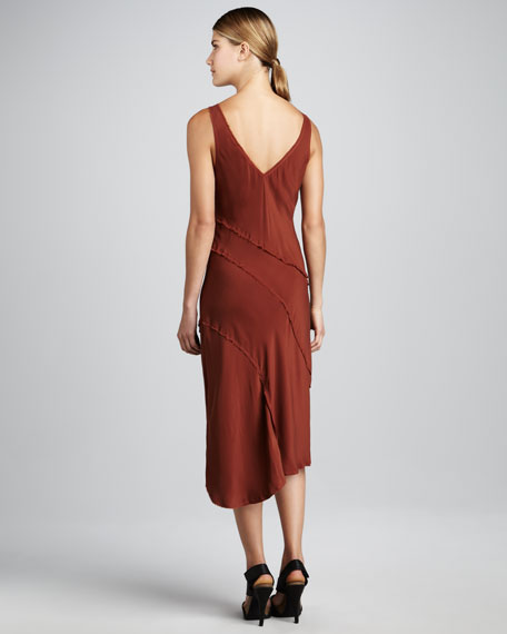 Bias-Paneled Silk Dress