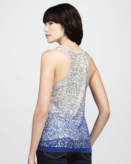 Ombre Sequined Mesh Tank