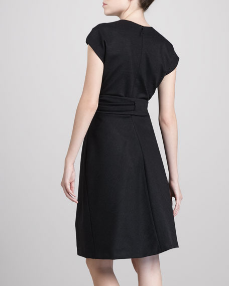Faux-Wrap Jersey Dress