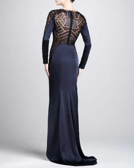Sheer-Paneled Long-Sleeve Gown, Midnight