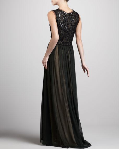 Sequin-Top Mousseline Gown