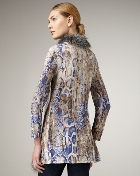 Faux-Fur-Trim Snakeprint Cardigan