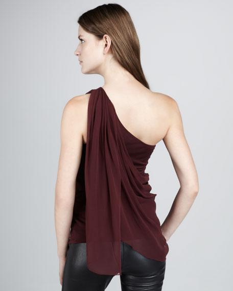 One-Shoulder Silk Top