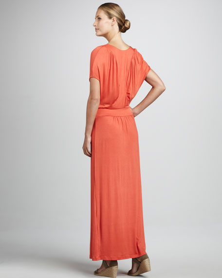 V-Neck Ruched Maxi Dress