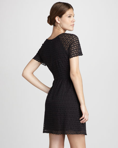 Candy Woven-Lace Short-Sleeve Dress