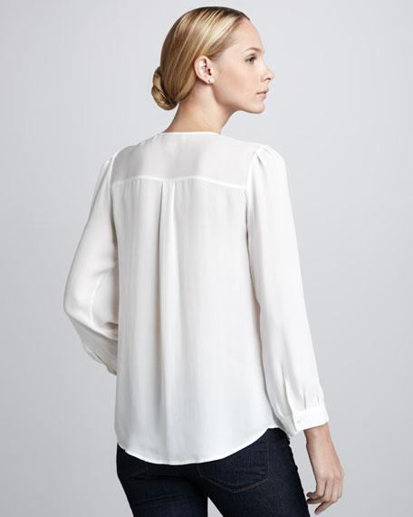 Pintucked Silk Blouse